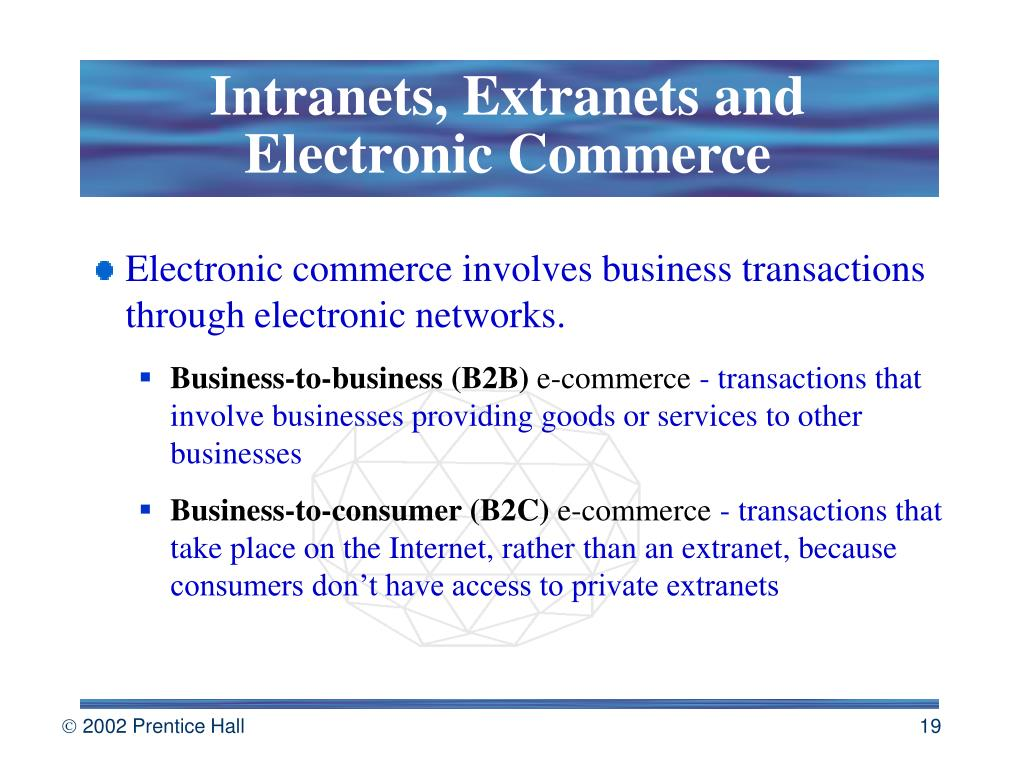 Intranets, Extranets and Electronic Commerce