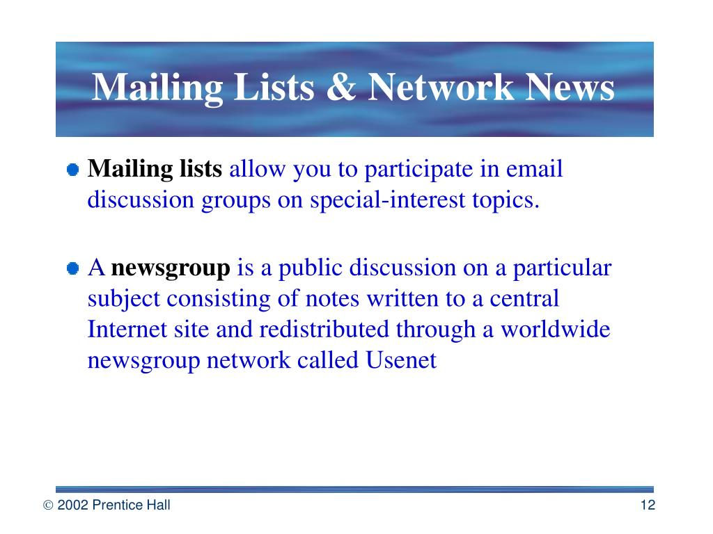 Mailing Lists & Network News