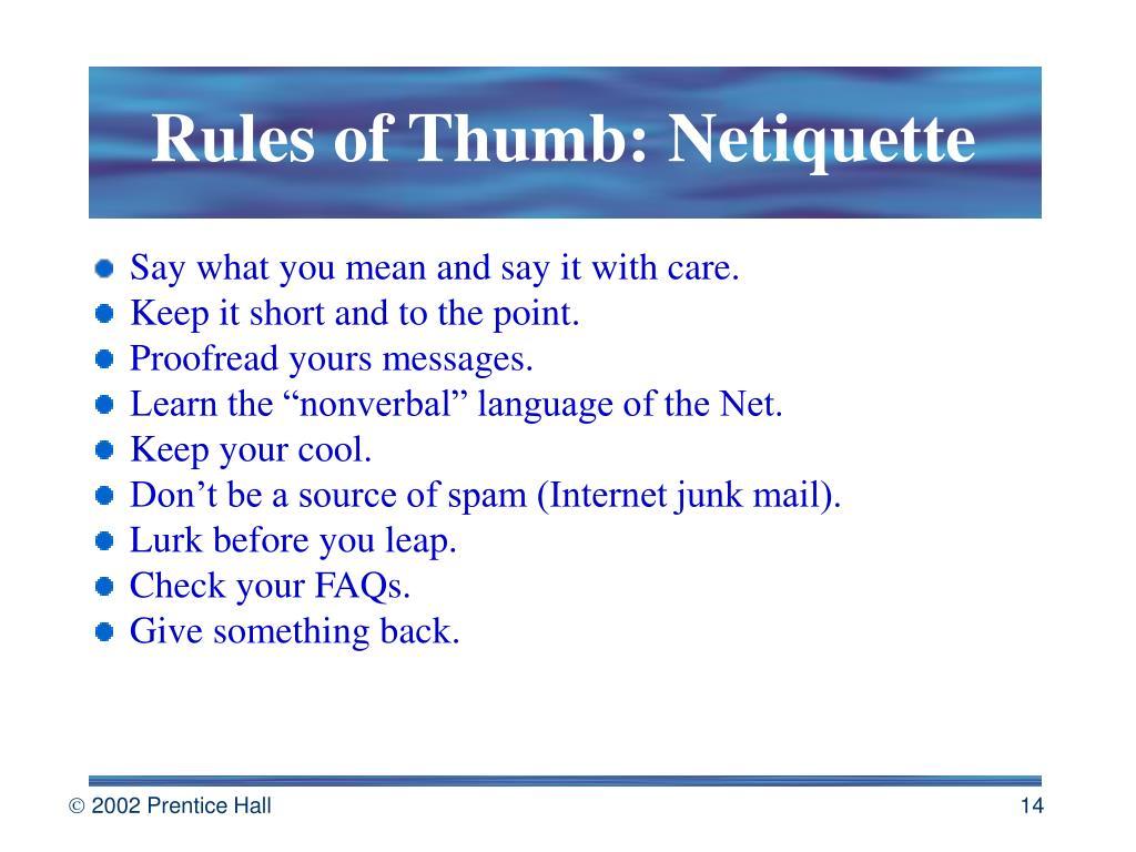 Rules of Thumb: Netiquette