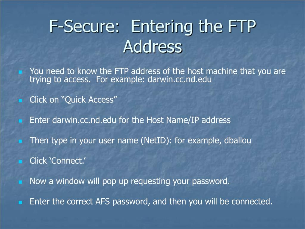 F-Secure:  Entering the FTP Address