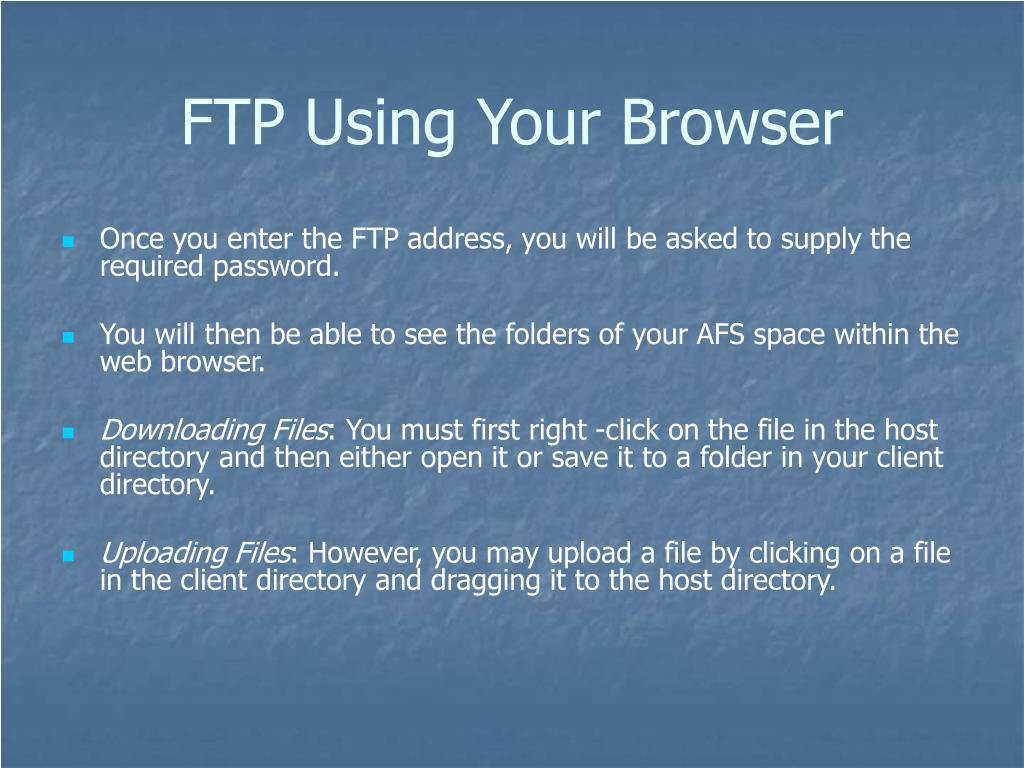 FTP Using Your Browser