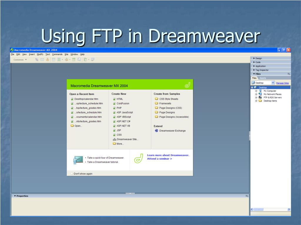 Using FTP in Dreamweaver