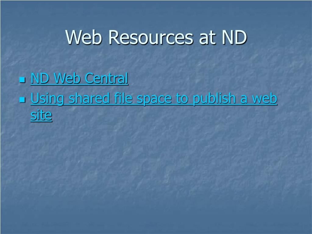 Web Resources at ND