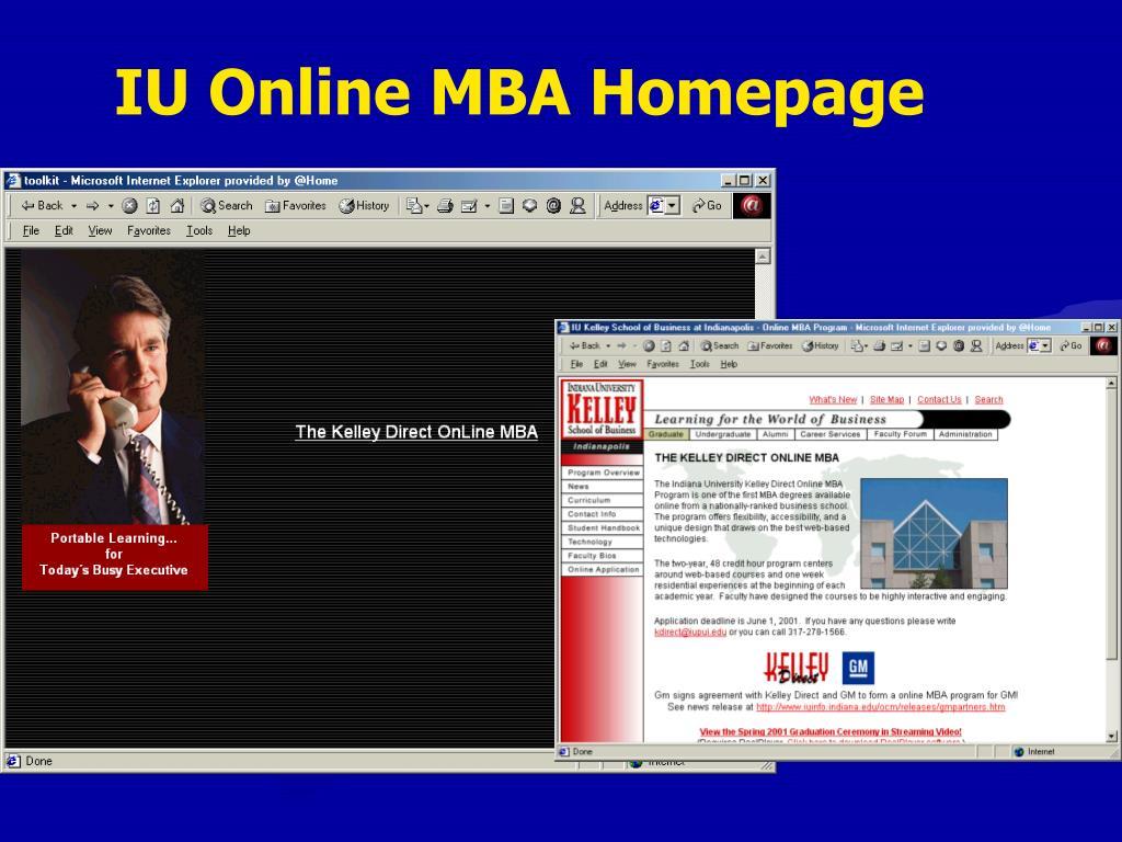 IU Online MBA Homepage