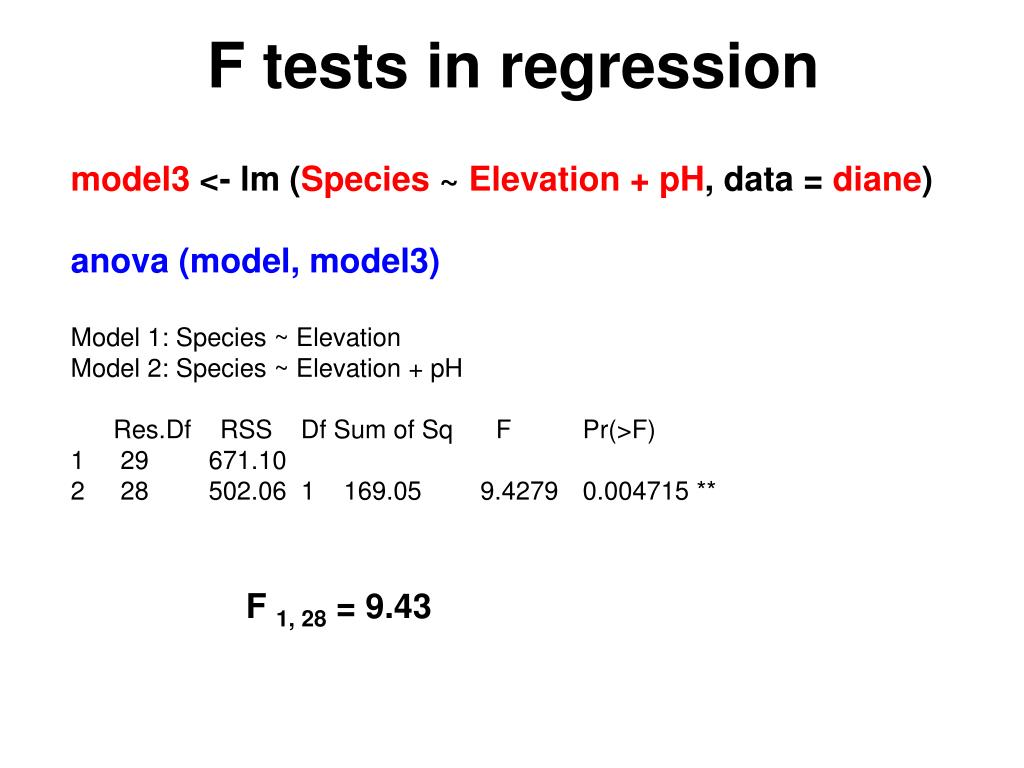 F tests in regression