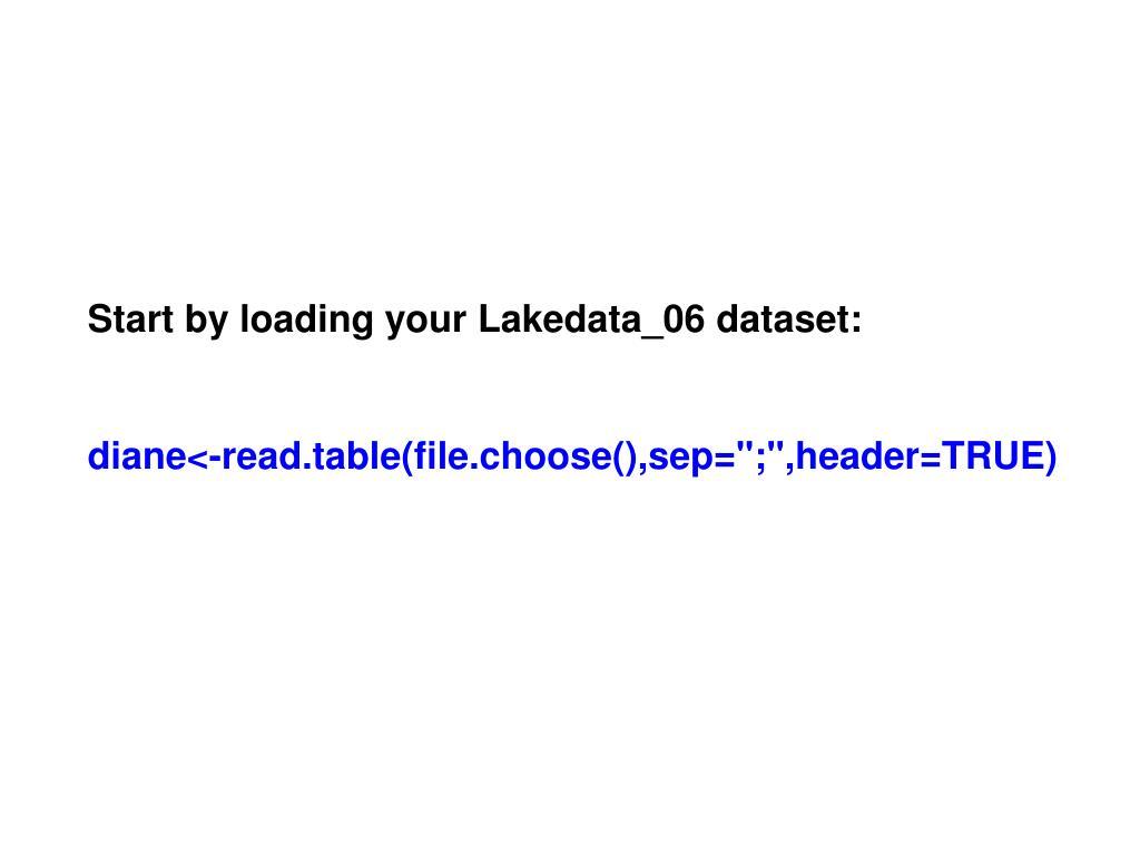 Start by loading your Lakedata_06 dataset: