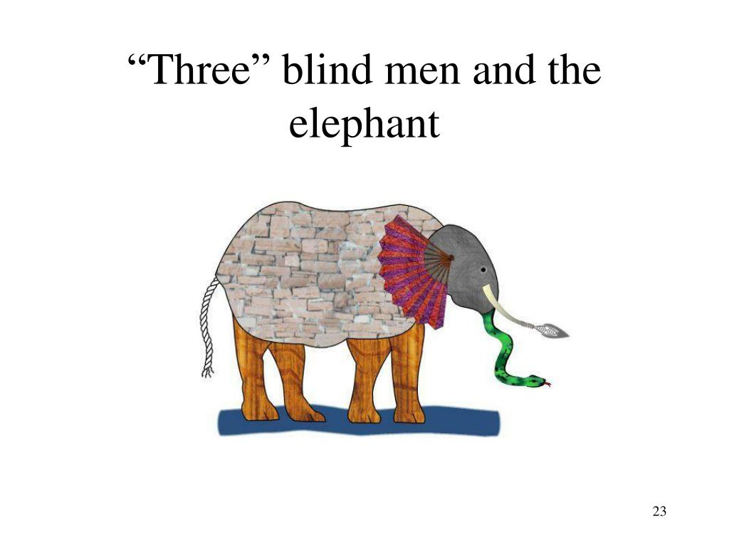"""""""Three"""" blind men and the elephant"""