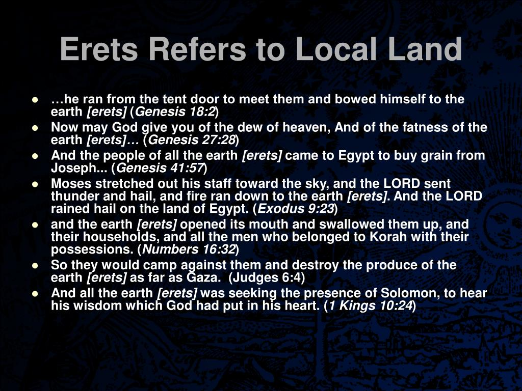 Erets Refers to Local Land