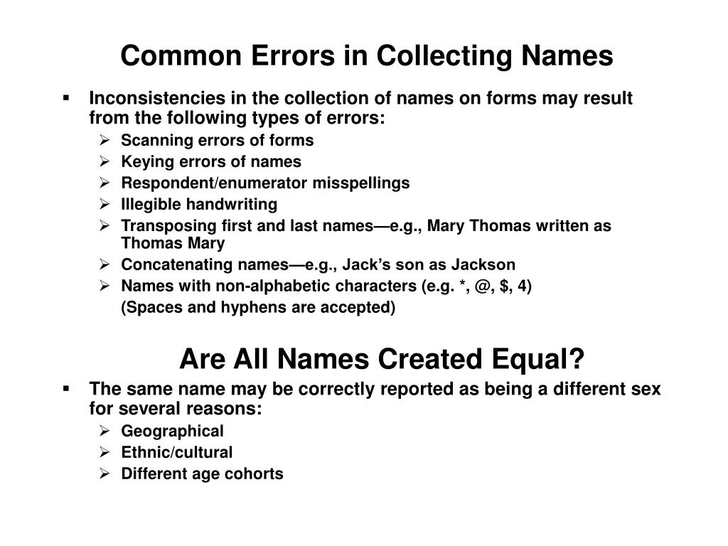 Common Errors in Collecting Names