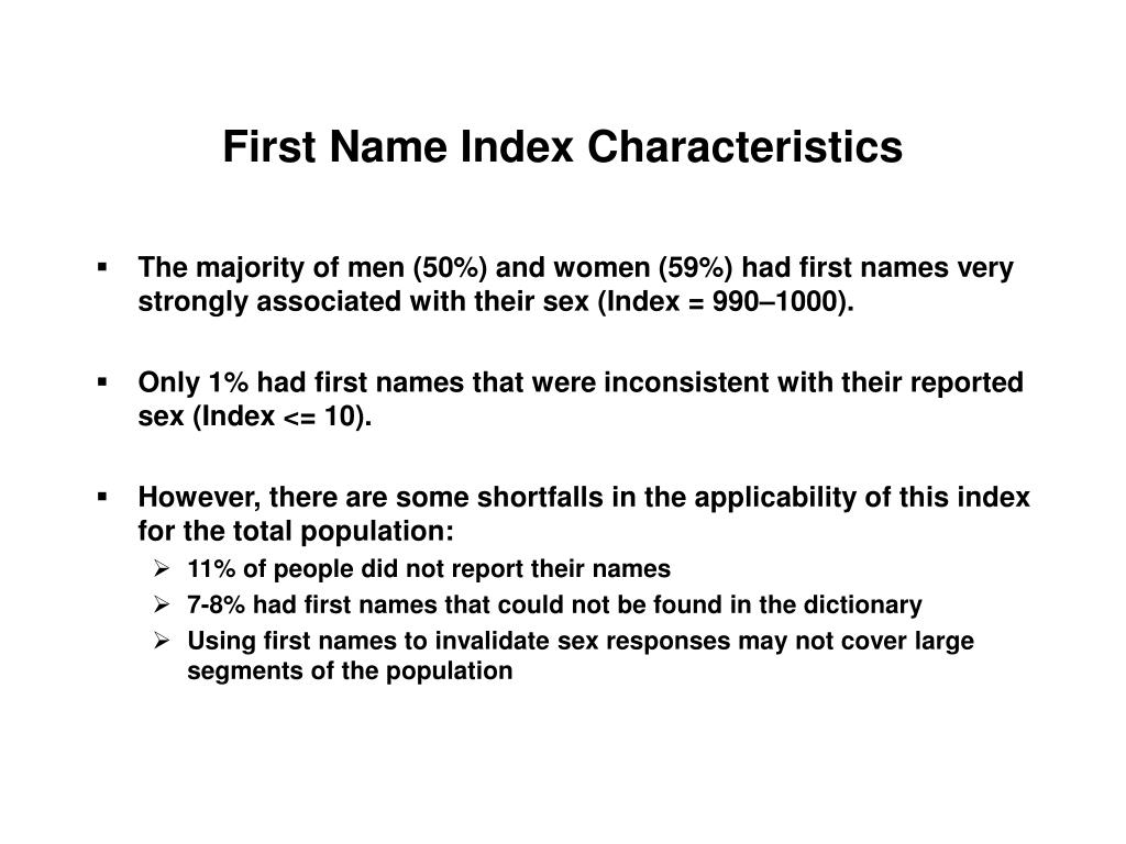 First Name Index Characteristics