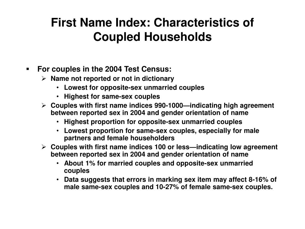 First Name Index: Characteristics of Coupled Households