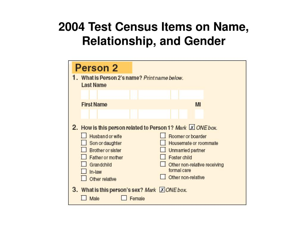 2004 Test Census Items on Name, Relationship, and Gender