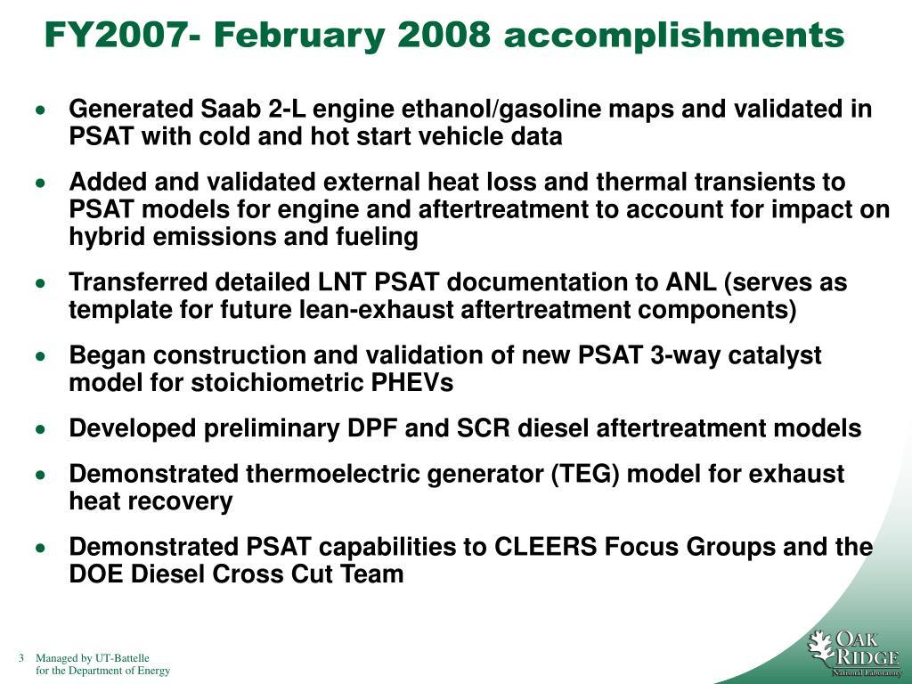FY2007- February 2008 accomplishments