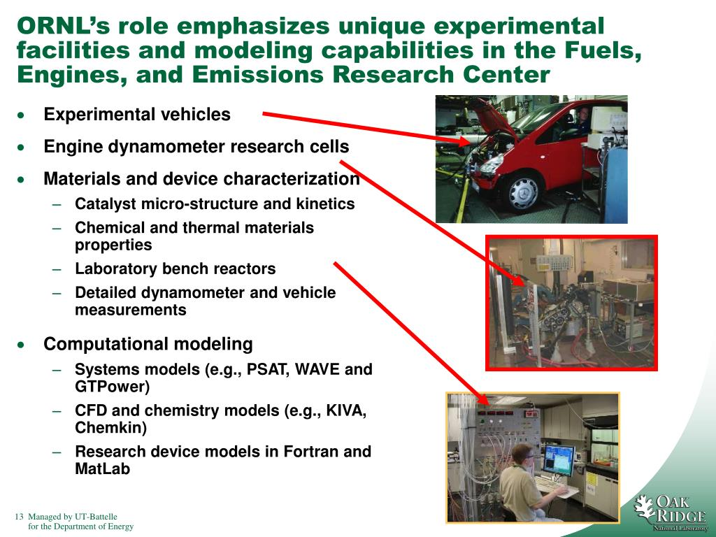 ORNL's role emphasizes unique experimental facilities and modeling capabilities in the Fuels, Engines, and Emissions Research Center
