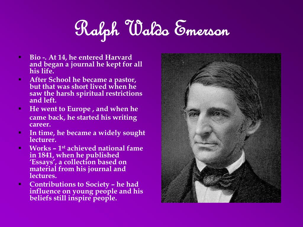essay ralph waldo emerson The project gutenberg ebook of essays, first series, by ralph waldo emerson this ebook is for the use of anyone anywhere at no cost and with almost no restrictions.