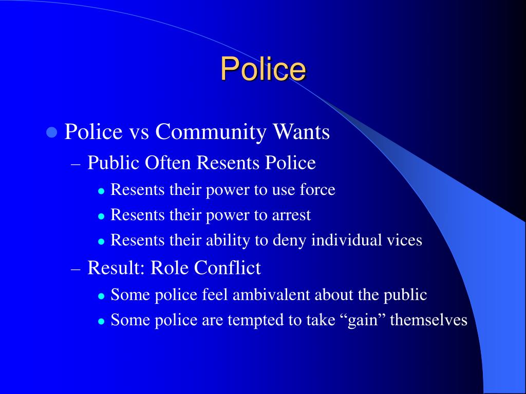 essay on community oriented policing To start with, one important scholar of policing, skolnick (1998)believed that problem-oriented as an approach, works as a substitute to incident driven traditional policing, and was derived from ideas of the proactive attitudes of community-oriented policing.
