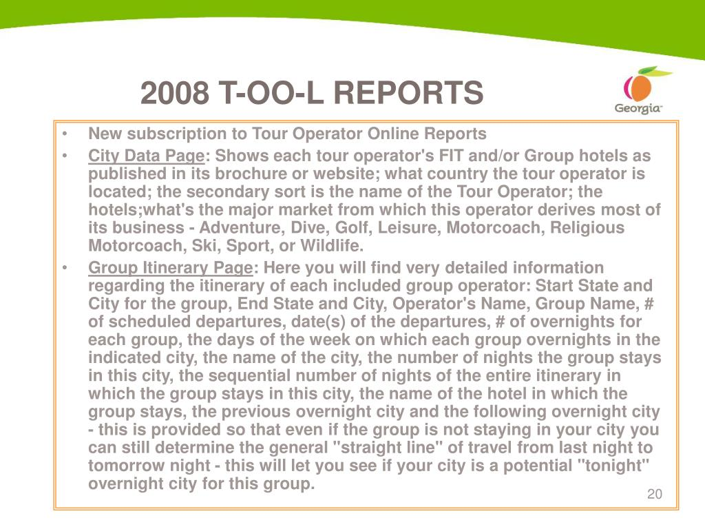 New subscription to Tour Operator Online Reports