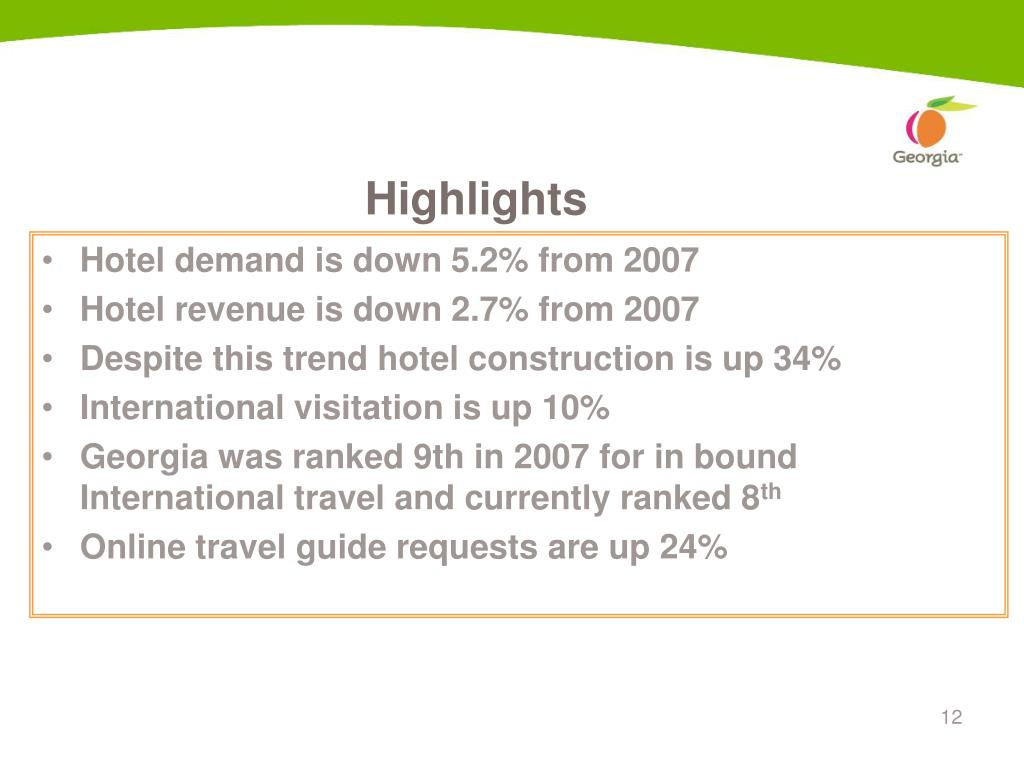 Hotel demand is down 5.2% from 2007