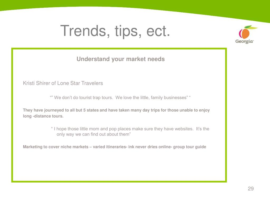 Trends, tips, ect.