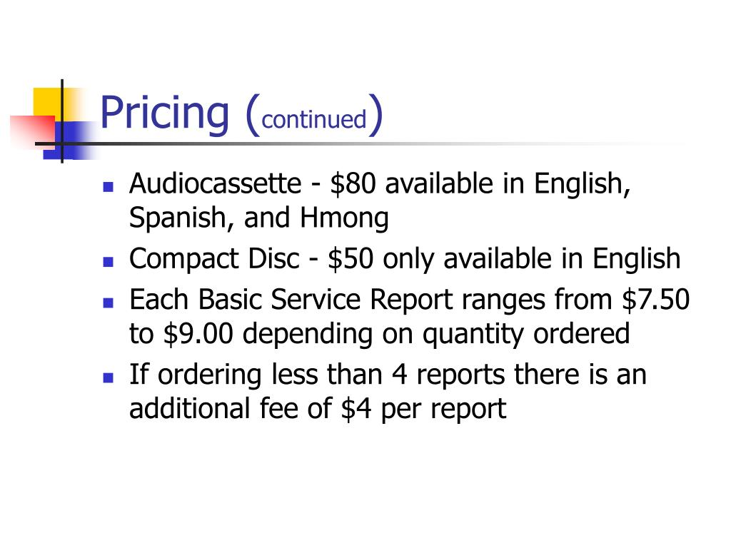 Pricing (