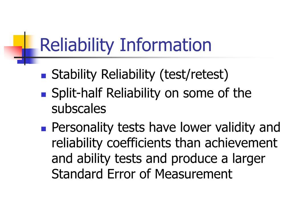 Reliability Information