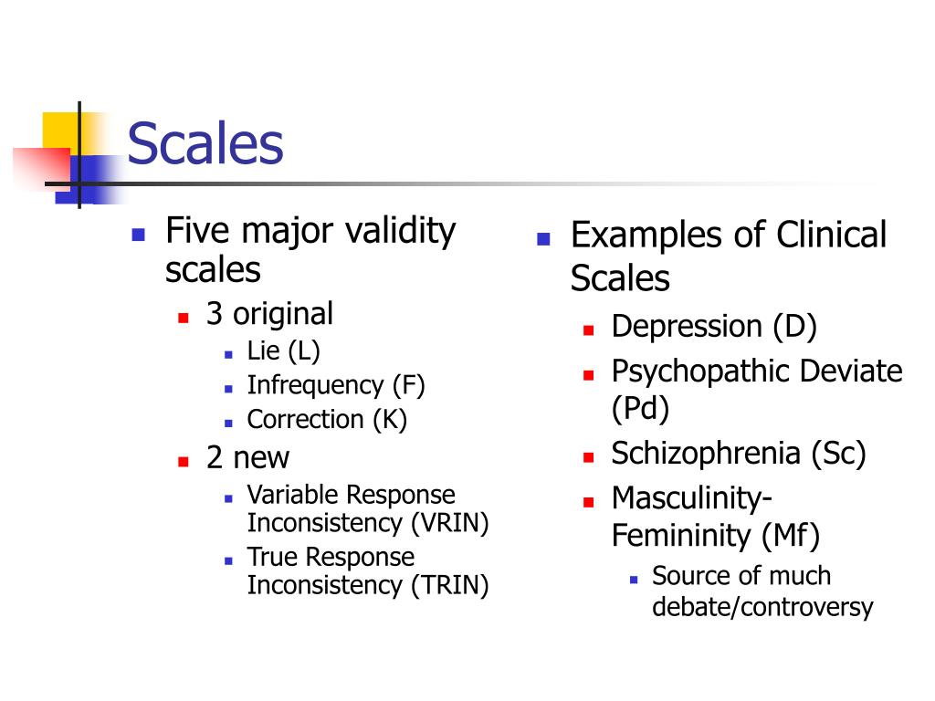 Five major validity scales