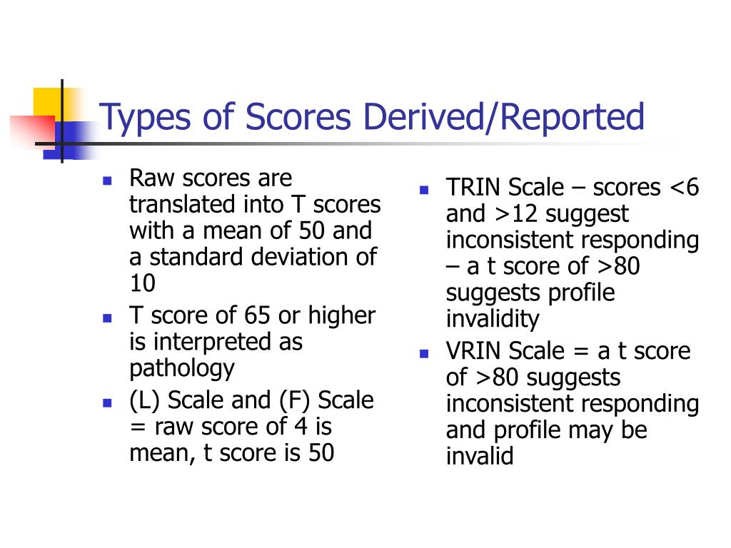 Raw scores are translated into T scores with a mean of 50 and a standard deviation of 10