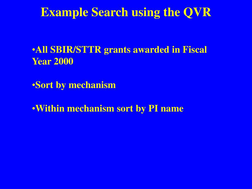 Example Search using the QVR