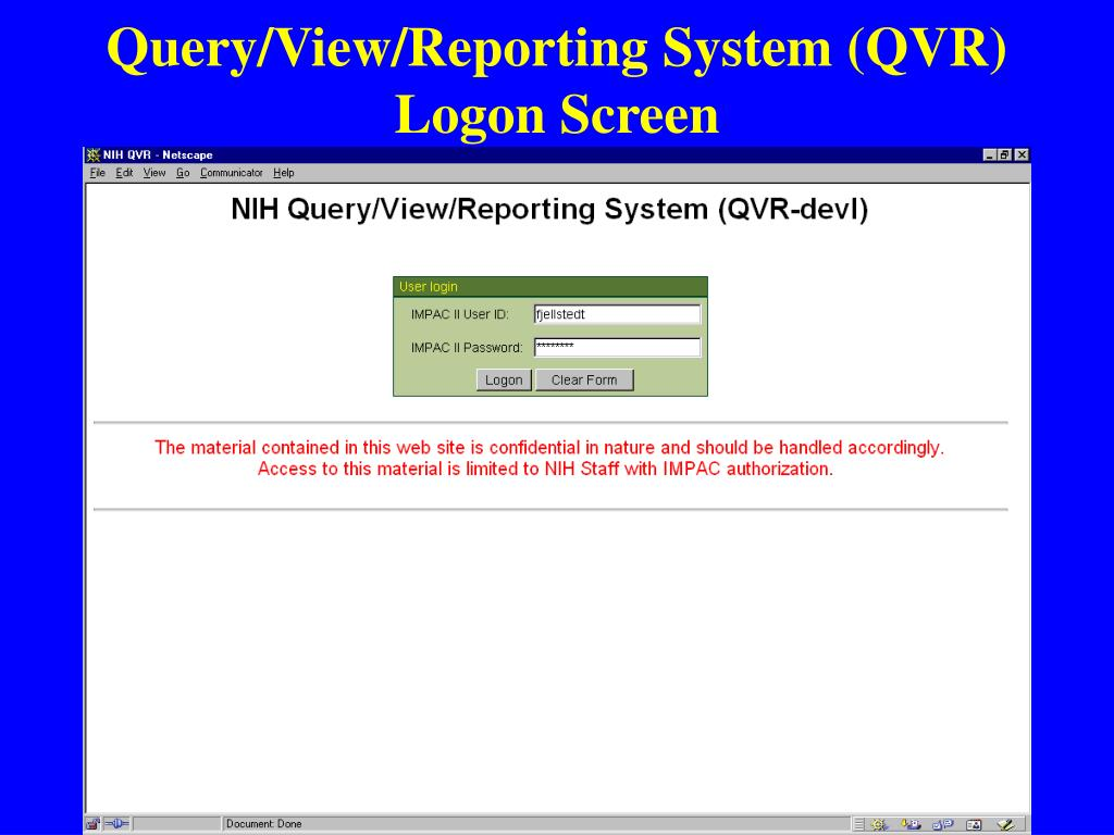 Query/View/Reporting System (QVR) Logon Screen