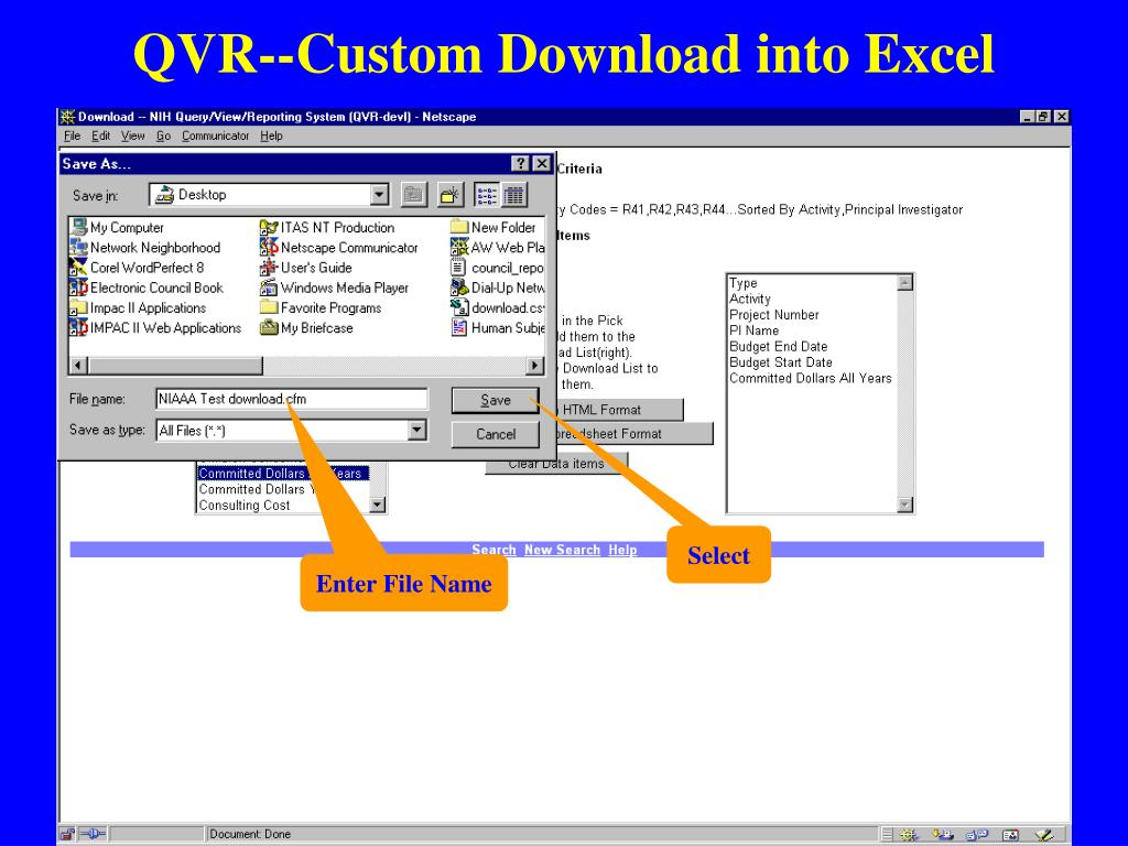QVR--Custom Download into Excel