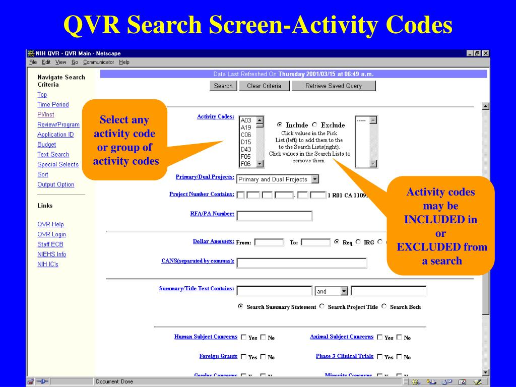 QVR Search Screen-Activity Codes