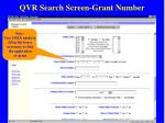 qvr search screen grant number