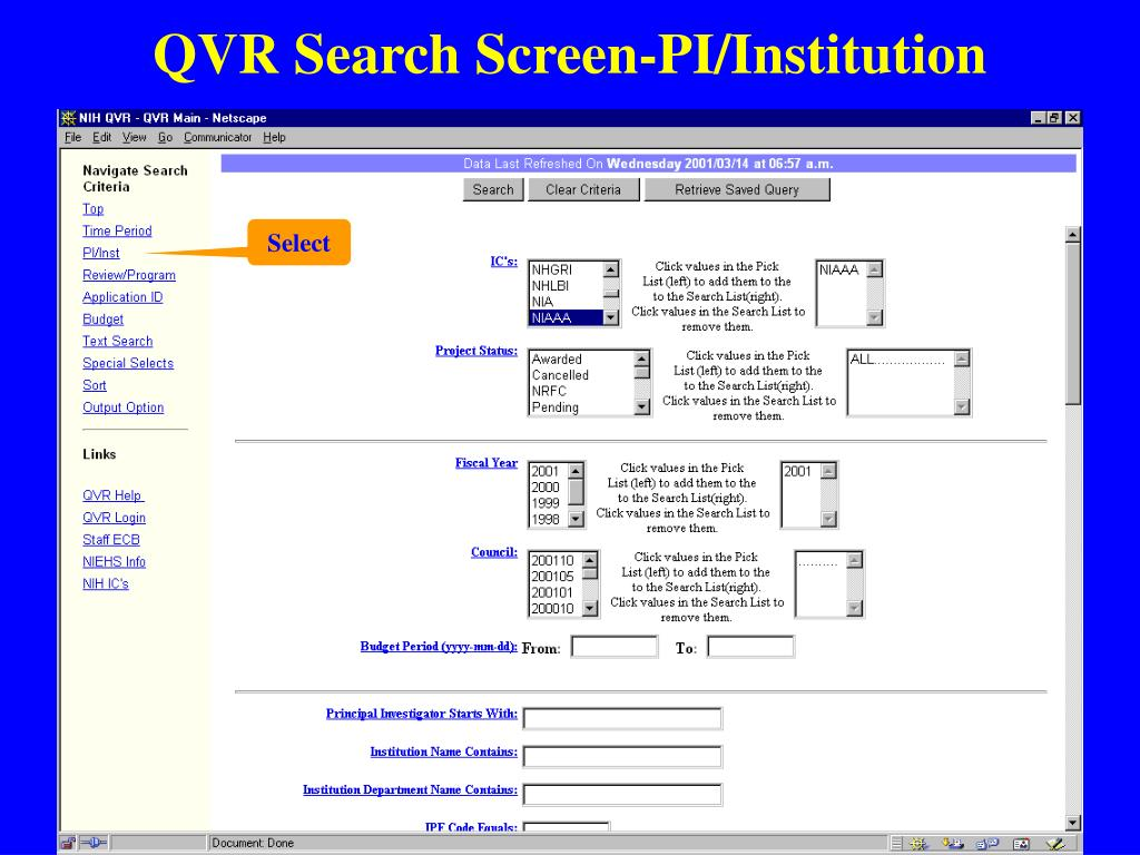 QVR Search Screen-PI/Institution