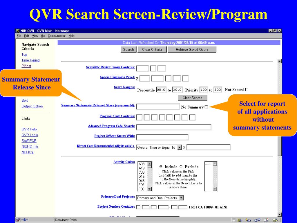 QVR Search Screen-Review/Program