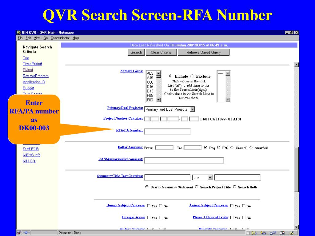 QVR Search Screen-RFA Number