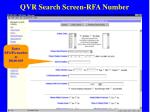 qvr search screen rfa number