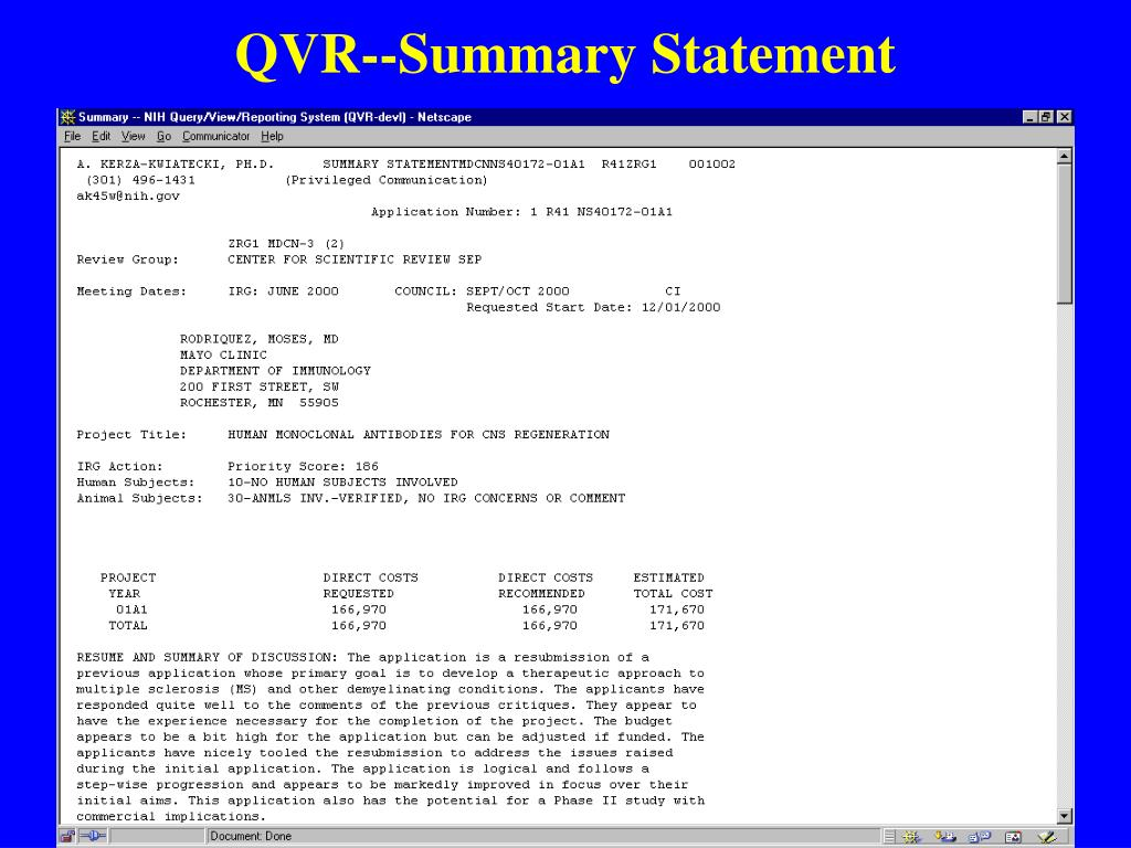QVR--Summary Statement