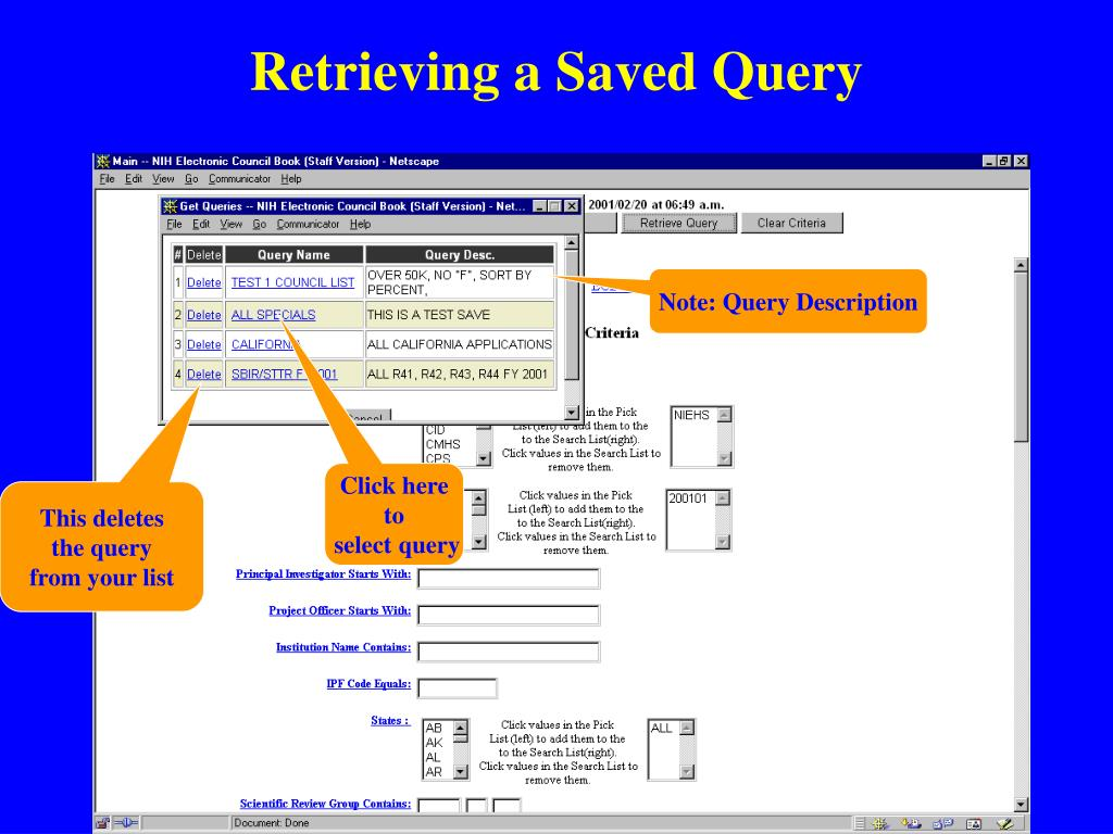 Retrieving a Saved Query