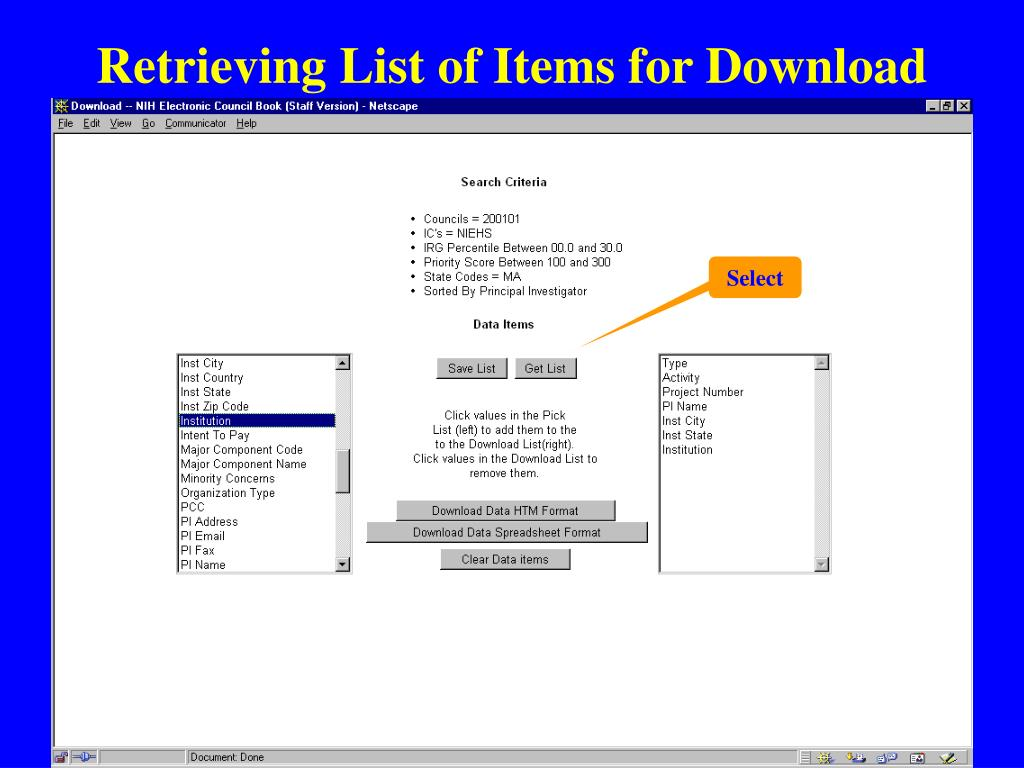 Retrieving List of Items for Download