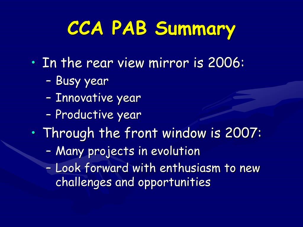 CCA PAB Summary