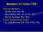 members of celiac pab
