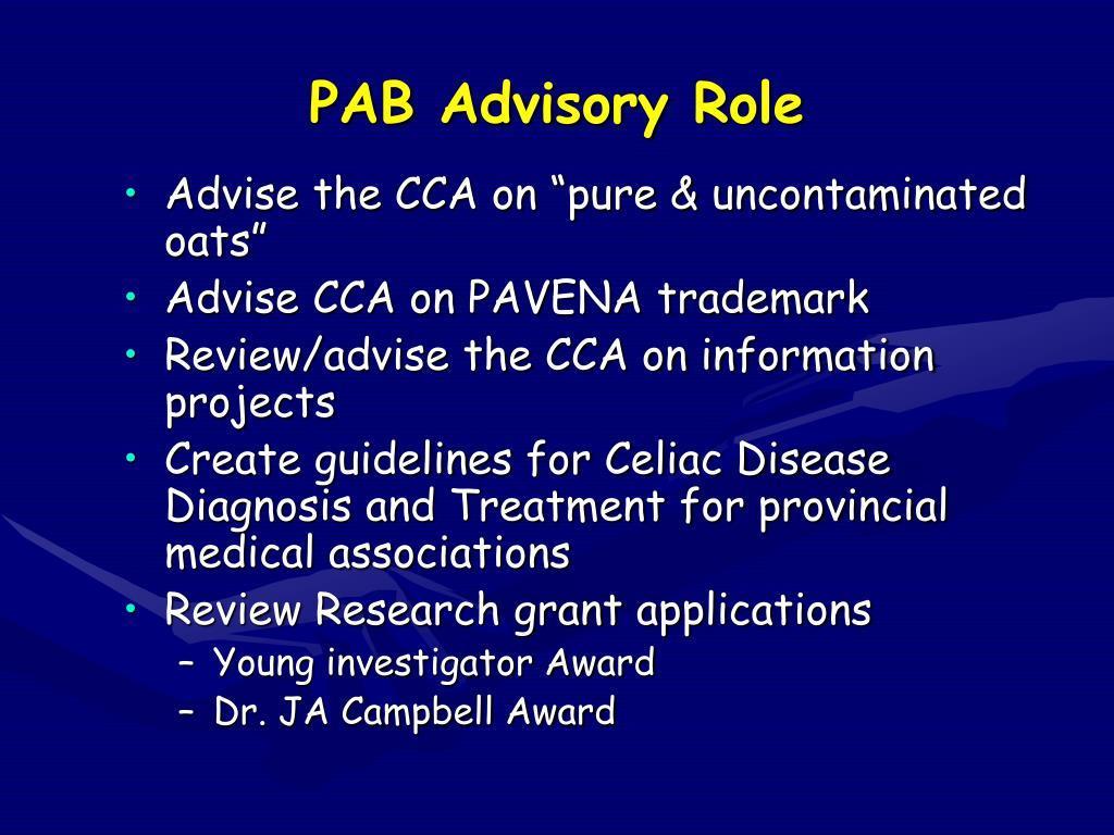 PAB Advisory Role