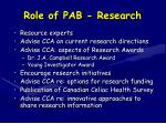 role of pab research