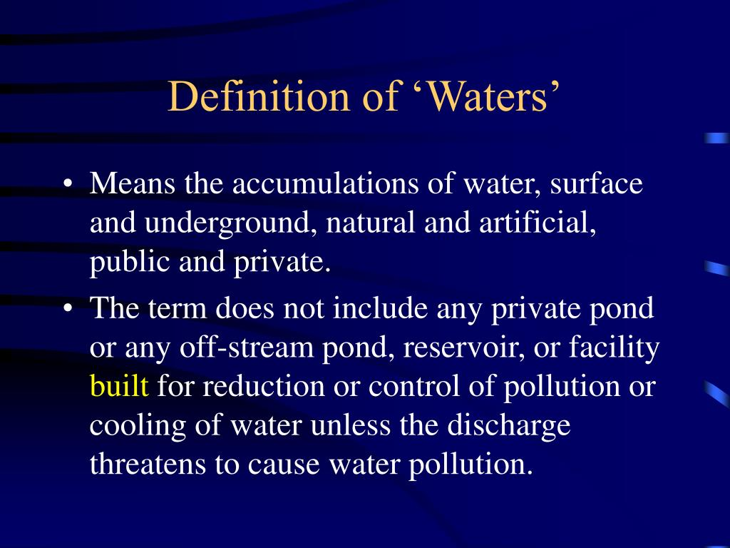 Definition of 'Waters'