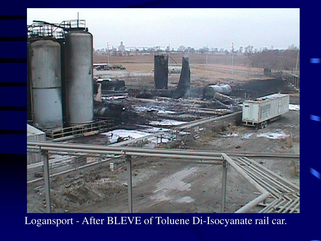Logansport - After BLEVE of Toluene Di-Isocyanate rail car.
