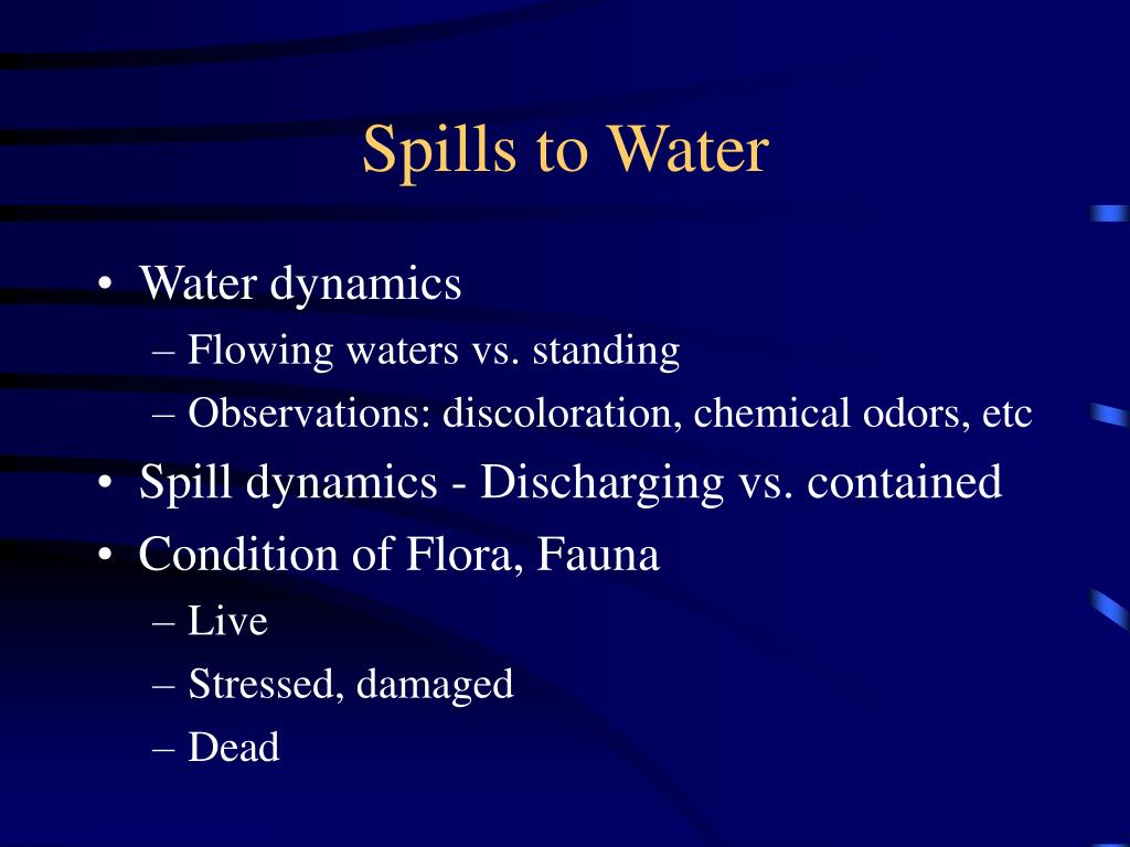 Spills to Water