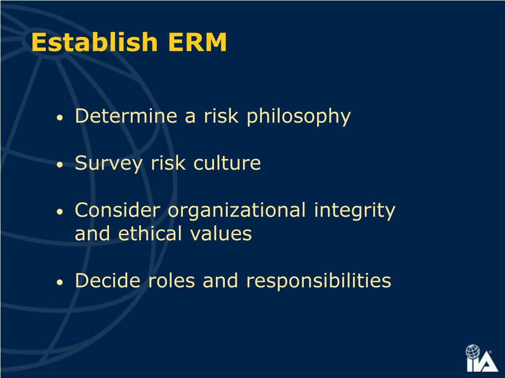 Establish ERM