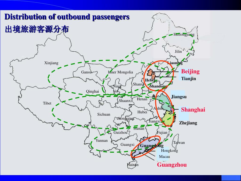 Distribution of outbound passengers