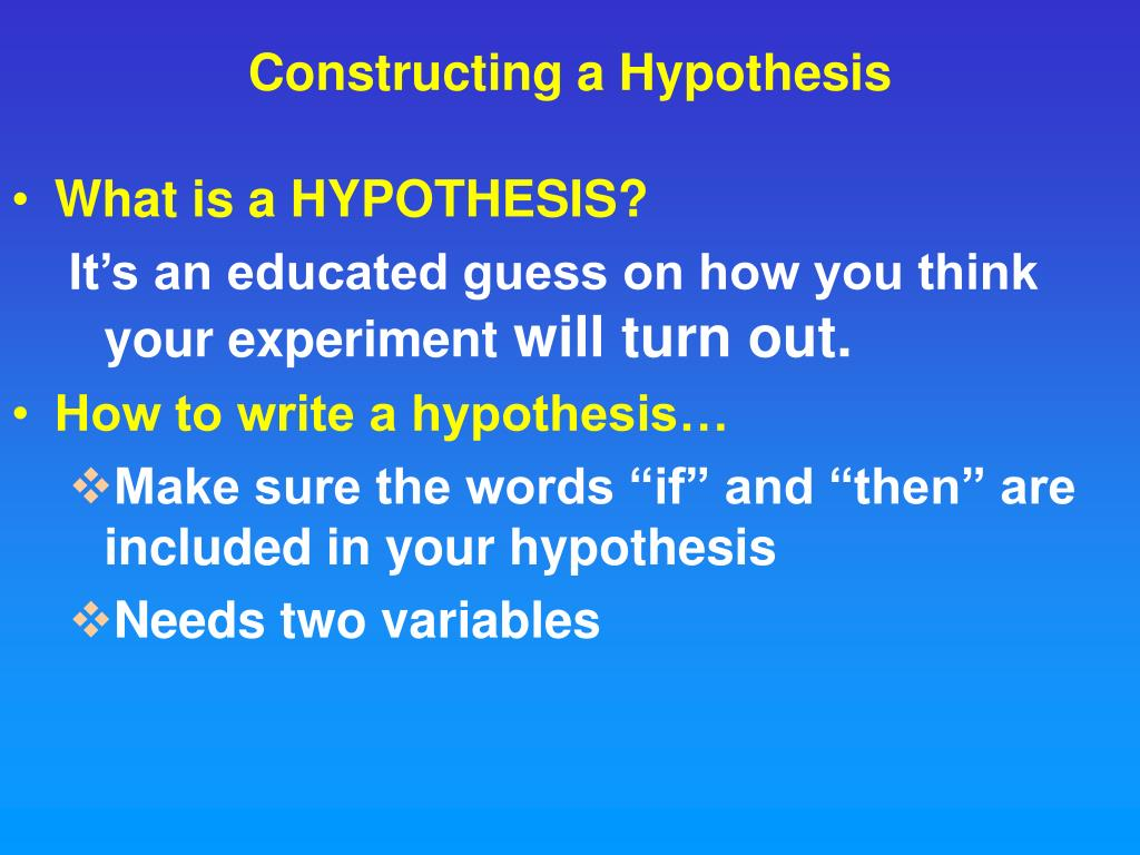 Constructing a Hypothesis