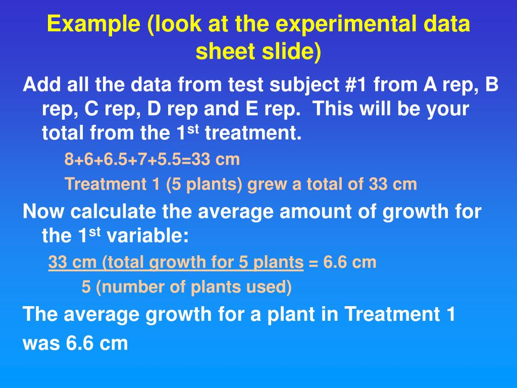 Example (look at the experimental data sheet slide)